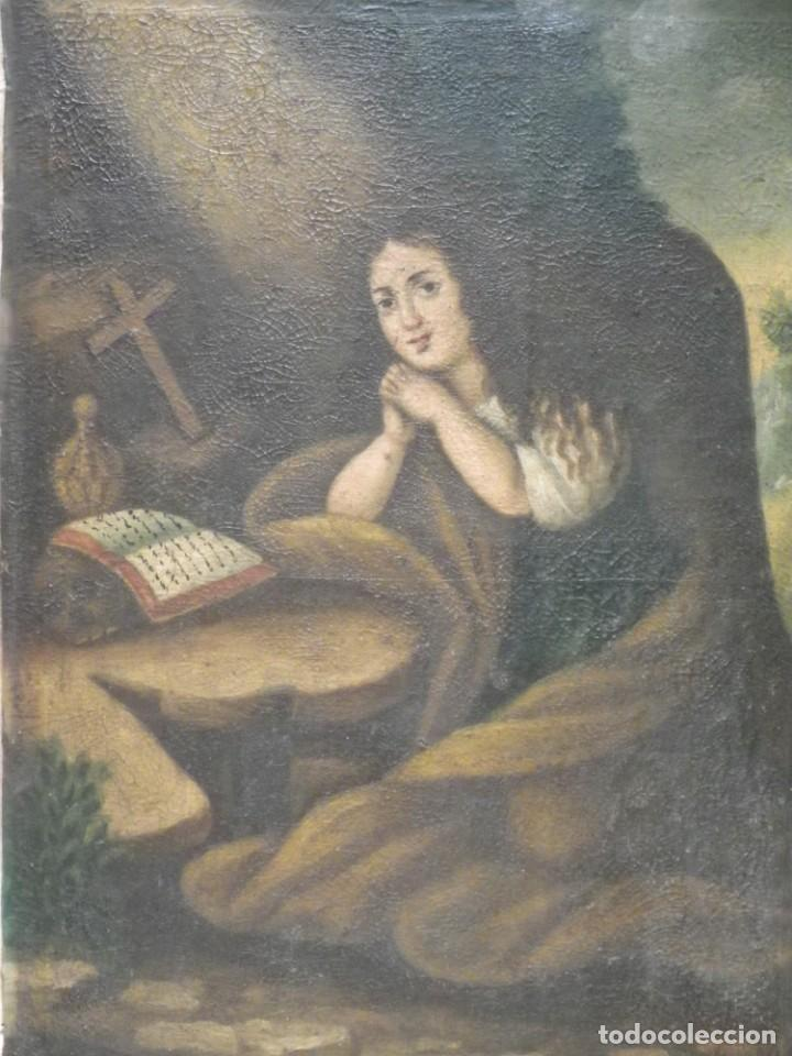 Arte: Magdalena penitente. óleo S-XVIII-XIX - Foto 8 - 165188474