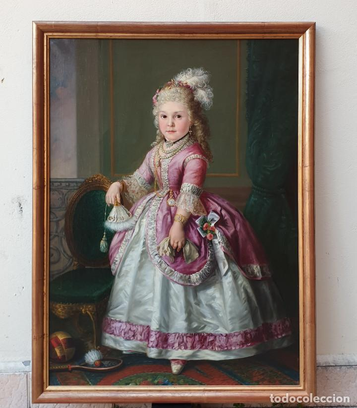 Arte: Importante retrato de niña cortesana. Catalina de Solís. Óleo sobre lienzo. - Foto 2 - 165189598