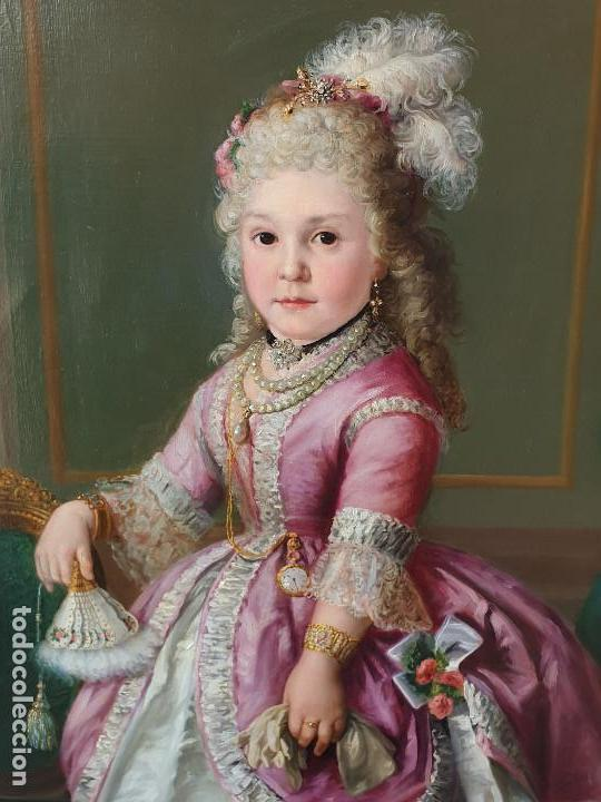 Arte: Importante retrato de niña cortesana. Catalina de Solís. Óleo sobre lienzo. - Foto 3 - 165189598