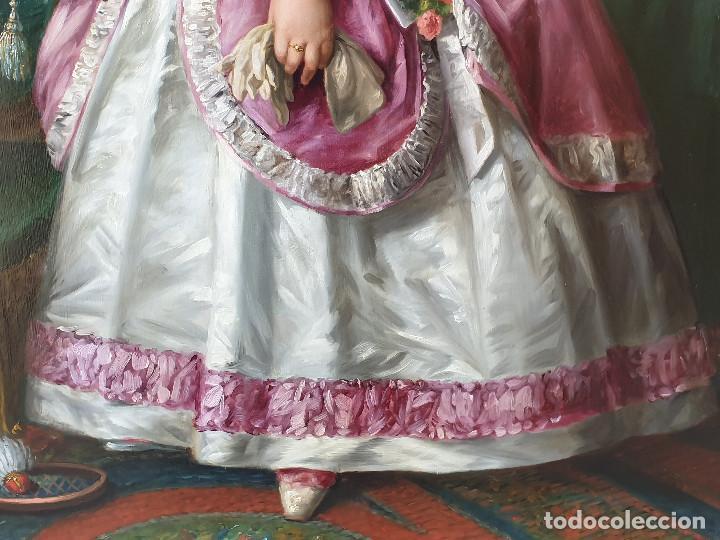 Arte: Importante retrato de niña cortesana. Catalina de Solís. Óleo sobre lienzo. - Foto 7 - 165189598