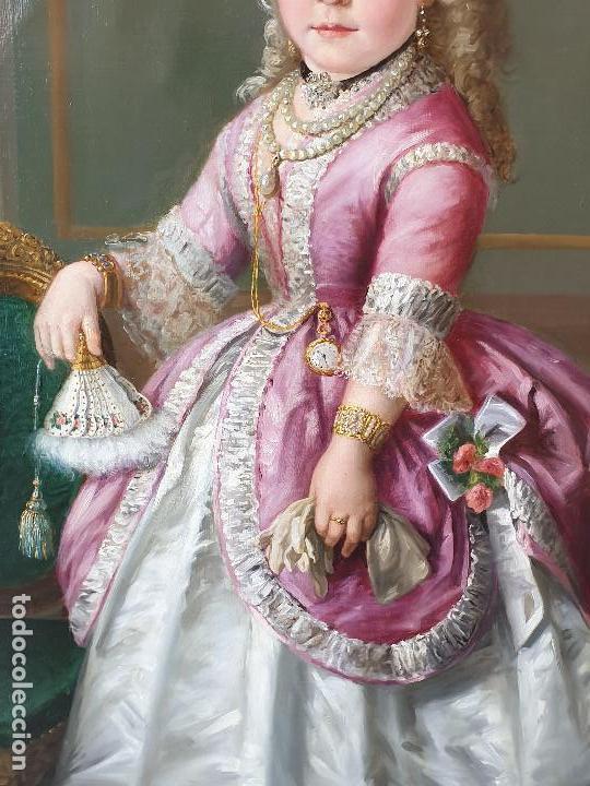 Arte: Importante retrato de niña cortesana. Catalina de Solís. Óleo sobre lienzo. - Foto 6 - 165189598