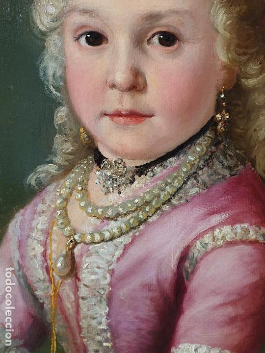 Arte: Importante retrato de niña cortesana. Catalina de Solís. Óleo sobre lienzo. - Foto 4 - 165189598