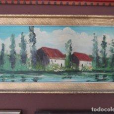 Arte: ANTIGUO CUADRO AÑOS 70 - PAISAJE AL OLEO EN MADERA . Lote 165212066
