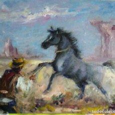 Arte: PINTURA AL ÓLEO.ILUSTRACION DEL SALVAJE OESTE.. Lote 165236554