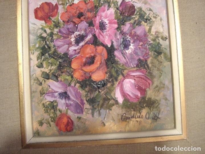 Arte: OLEO CANDIDO ORTI 1978 - CENTRO DE FLORES - ENMARCADO -CUADRO PINTURA MARCO - Foto 5 - 165295154