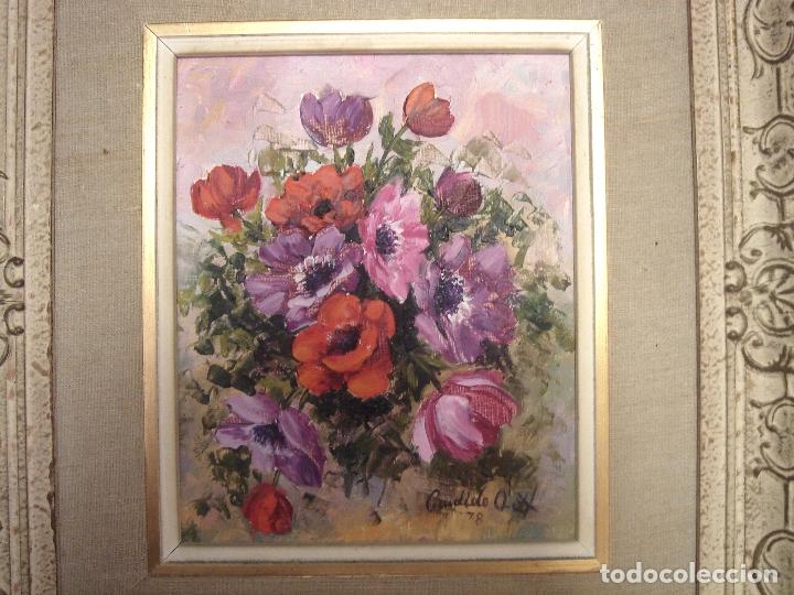 OLEO CANDIDO ORTI 1978 - CENTRO DE FLORES - ENMARCADO -CUADRO PINTURA MARCO (Arte - Pintura - Pintura al Óleo Contemporánea )
