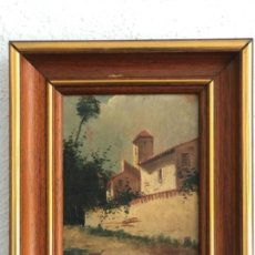 Arte: OLEO SOBRE TABLA PAISAJE , ESCUELA CATALANA FINALES DEL S.XIX. ANÓNIMO.. Lote 165340066