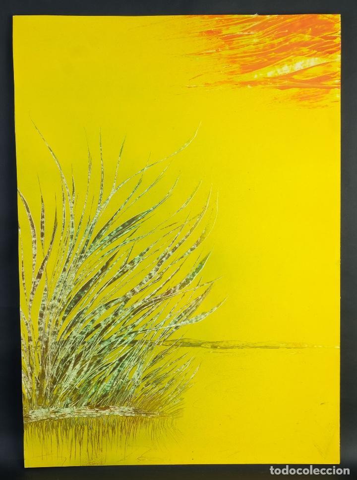 Arte: Acrílico sobre papel Lago - Foto 2 - 165381678