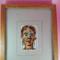 Arte: CUADRO-CRISTAL+MARCO-FIRMADO:SANTOS-COLAGE SOBRE CARTA/NAIPE-SANTOS-2012-BUEN ESTADO. Lote 165404962