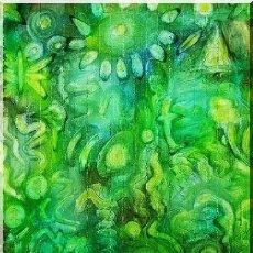 Arte: OLEO ABSTRACTO SOBRE LIENZO ( TRES COLORES ), FIRMADO. Lote 165539170