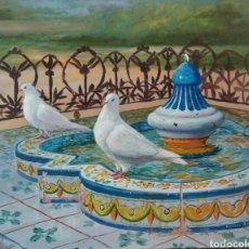 Arte: OLEO DE RODOLFO REGAÑO FUENTE DEL PARQUE DE MARIA LUISA. Lote 165550053