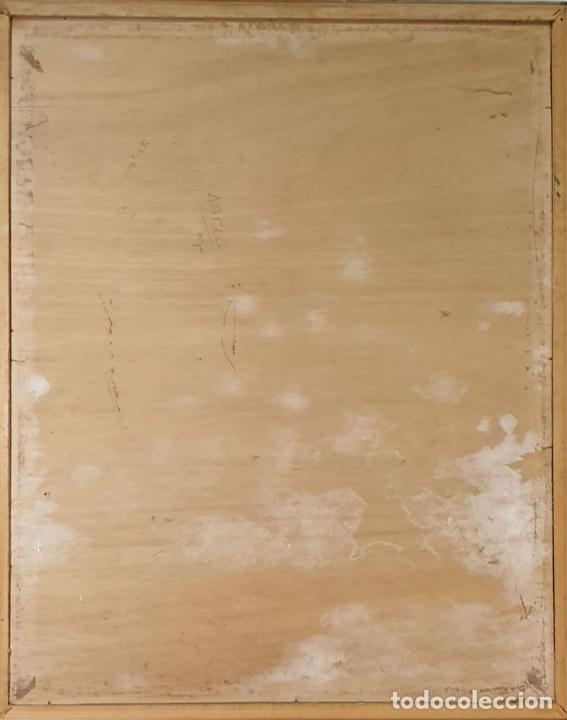 Arte: RETRATO MASCULINO. TÉCNICA MIXTA SOBRE TABLA. ENRIQUE A. COLLIURE. 1965. - Foto 5 - 165595602