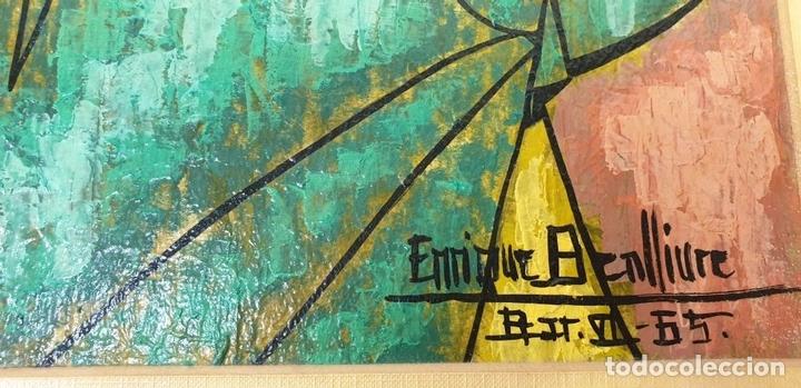 Arte: RETRATO MASCULINO. TÉCNICA MIXTA SOBRE TABLA. ENRIQUE A. COLLIURE. 1965. - Foto 10 - 165595602
