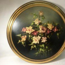 Arte: ORIGINAL ANTIGUO BODEGÓN FLORES ÓLEO SOBRE TABLEX MARCO PAN DE ORO. Lote 165610954
