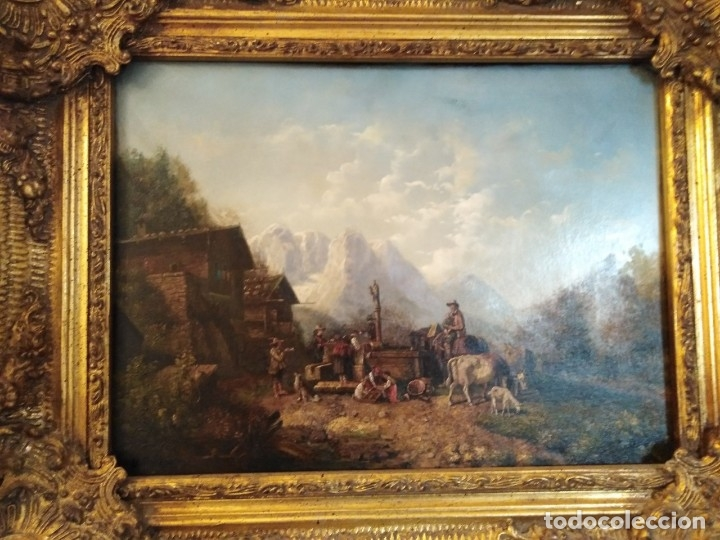 ESPECTACULAR Y ANTIGUO OLEO SOBRE TABLA SIGLO XIX XVIII ESCENA GRANJA RUSIA (Arte - Pintura - Pintura al Óleo Antigua siglo XVIII)