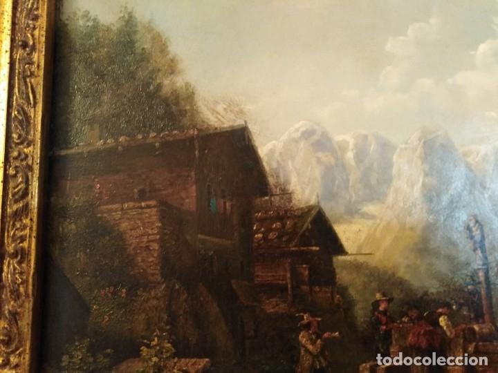 Arte: ESPECTACULAR Y ANTIGUO OLEO SOBRE TABLA SIGLO XIX XVIII ESCENA GRANJA RUSIA - Foto 15 - 163512290