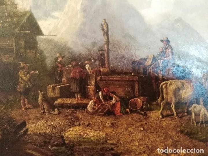 Arte: ESPECTACULAR Y ANTIGUO OLEO SOBRE TABLA SIGLO XIX XVIII ESCENA GRANJA RUSIA - Foto 4 - 163512290