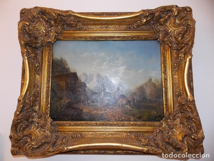 Arte: ESPECTACULAR Y ANTIGUO OLEO SOBRE TABLA SIGLO XIX XVIII ESCENA GRANJA RUSIA - Foto 2 - 163512290