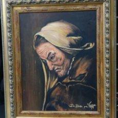 Arte: RIBERA, VIEJA USURERA. PINTURA REALIZADA POR VAREA 1998. GRAN CUADRO 89X74 CM. Lote 165661554