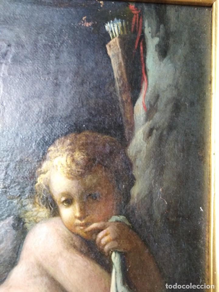 Arte: ANTIGUO OLEO SOBRE LIENZO CUPIDO SIGLO XVIII XVII // firmado atras JAP - Foto 2 - 165680862