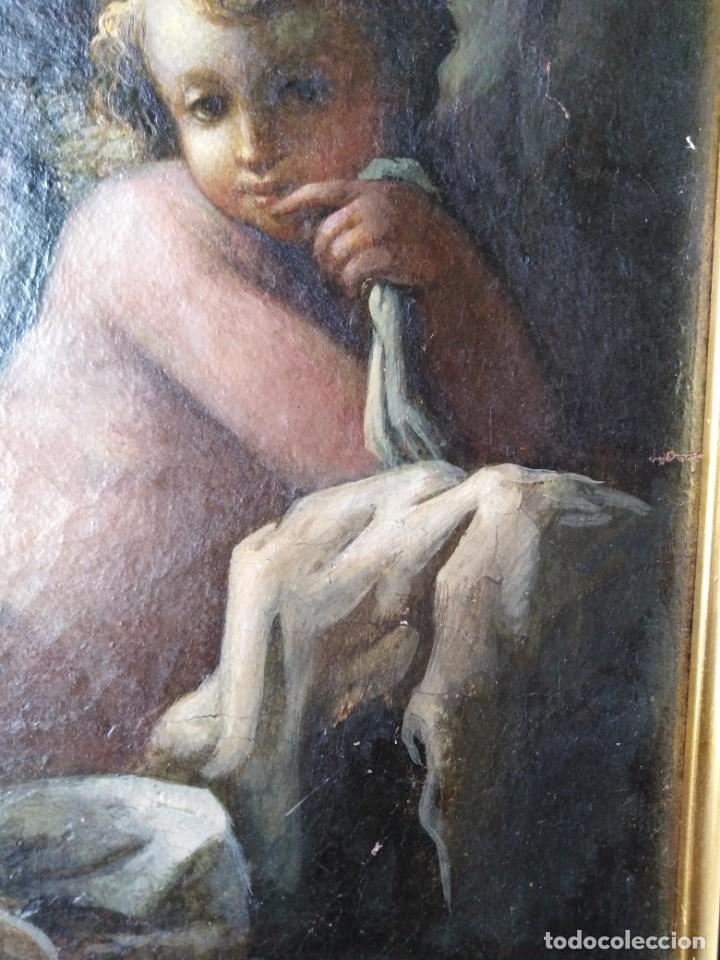Arte: ANTIGUO OLEO SOBRE LIENZO CUPIDO SIGLO XVIII XVII // firmado atras JAP - Foto 3 - 165680862