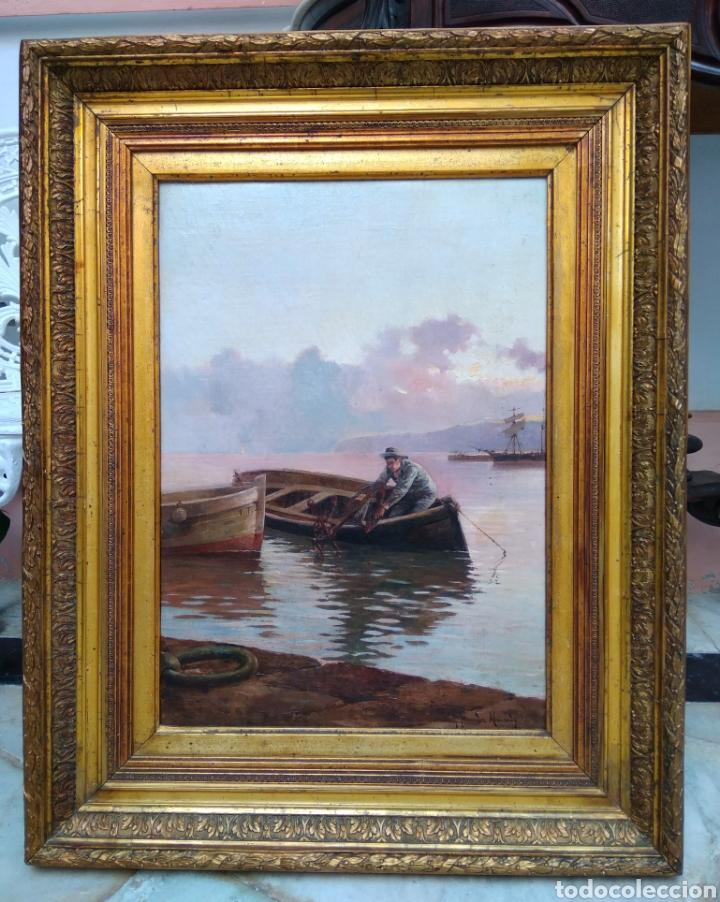 Arte: Óleo sobre lienzo siglo XIX firmado Fernández Alvarado - Foto 2 - 165725382