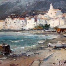 Arte: JOSEP SARQUELLA ESCOBET (LLAGOSTERA, 1928 - BARCELONA, 2000) OLEO SOBRE LIENZO. CADAQUÉS. Lote 165743054