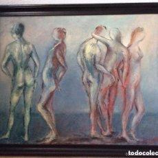 Arte: ÓLEO SOBRE LIENZO REPRESENTANDO PERSONAJES DESNUDO ,FIRMADO MEDIDAS 65X48 . Lote 165744794