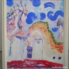Arte: GRAN OLEO SOBRE TABLA FIRMADO M. FLORES.RECORDANDO A GAUDÍ.. Lote 165750126