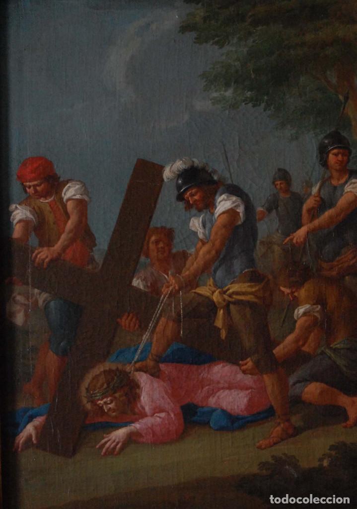 JESÚS CAÍDO CAMINO DEL CALVARIO VIA CRUCIS PINTURA ANTIGUA ITALIANA OLEO SIGLO XVIII (Arte - Pintura - Pintura al Óleo Antigua siglo XVIII)