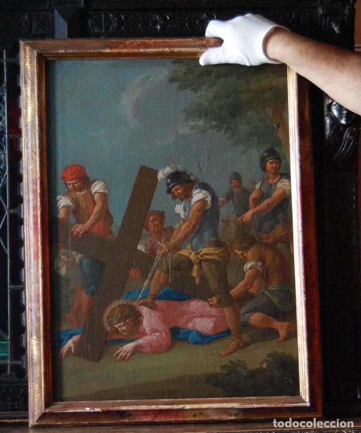 Arte: Jesús caído camino del calvario via crucis pintura antigua italiana oleo siglo XVIII - Foto 2 - 165768226