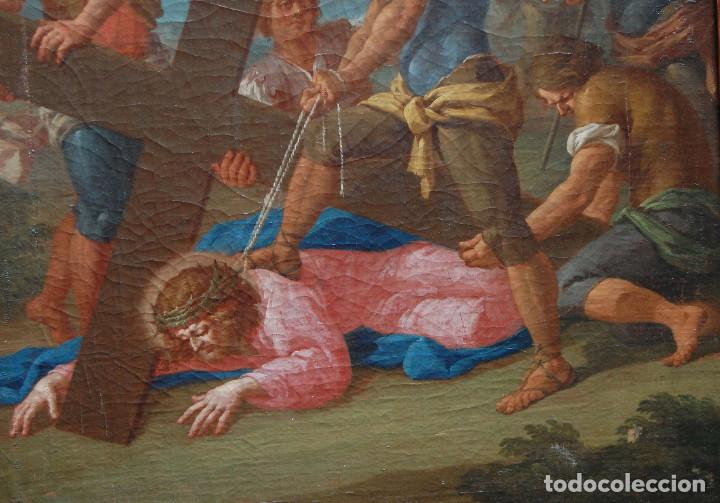 Arte: Jesús caído camino del calvario via crucis pintura antigua italiana oleo siglo XVIII - Foto 4 - 165768226