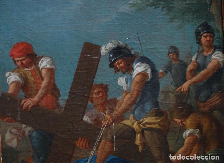 Arte: Jesús caído camino del calvario via crucis pintura antigua italiana oleo siglo XVIII - Foto 5 - 165768226