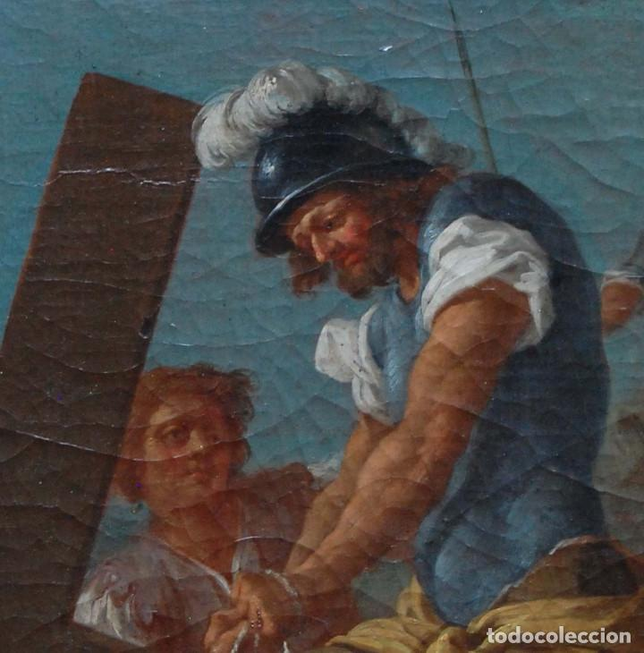 Arte: Jesús caído camino del calvario via crucis pintura antigua italiana oleo siglo XVIII - Foto 7 - 165768226