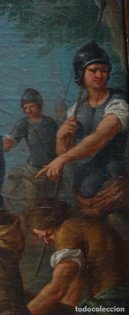 Arte: Jesús caído camino del calvario via crucis pintura antigua italiana oleo siglo XVIII - Foto 8 - 165768226