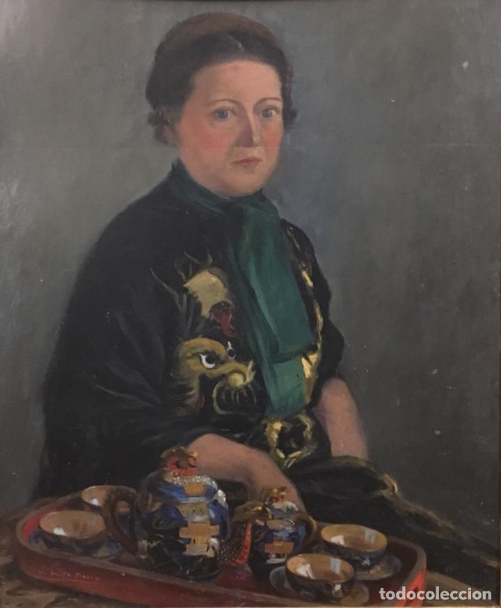 Arte: Óleo sobre cartón. Marceliano Santamaría. Firmado. Retrato femenino. - Foto 2 - 165825918