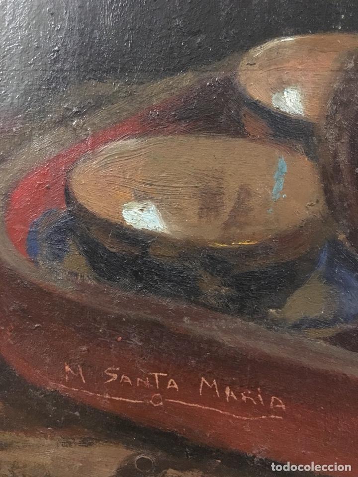 Arte: Óleo sobre cartón. Marceliano Santamaría. Firmado. Retrato femenino. - Foto 3 - 165825918