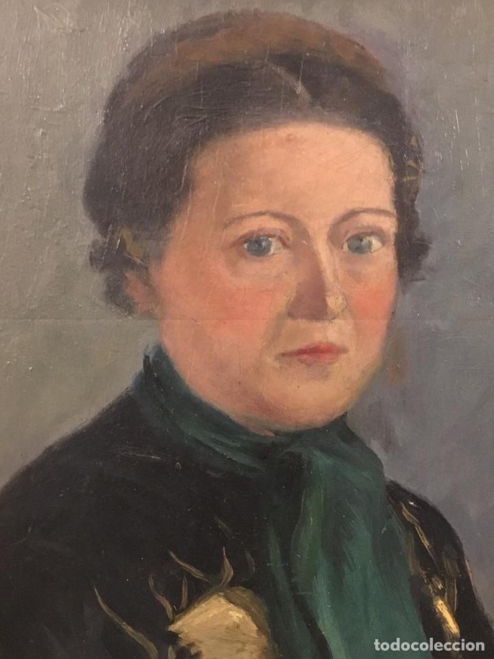 Arte: Óleo sobre cartón. Marceliano Santamaría. Firmado. Retrato femenino. - Foto 4 - 165825918