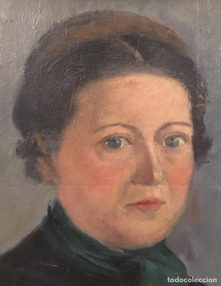 Arte: Óleo sobre cartón. Marceliano Santamaría. Firmado. Retrato femenino. - Foto 5 - 165825918