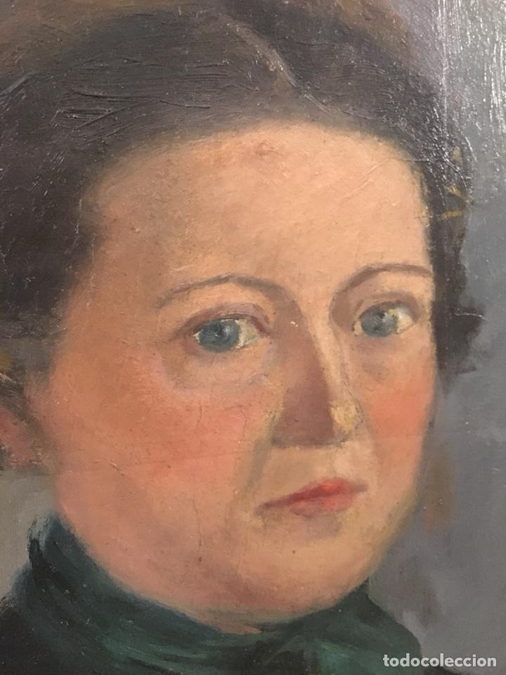 Arte: Óleo sobre cartón. Marceliano Santamaría. Firmado. Retrato femenino. - Foto 6 - 165825918