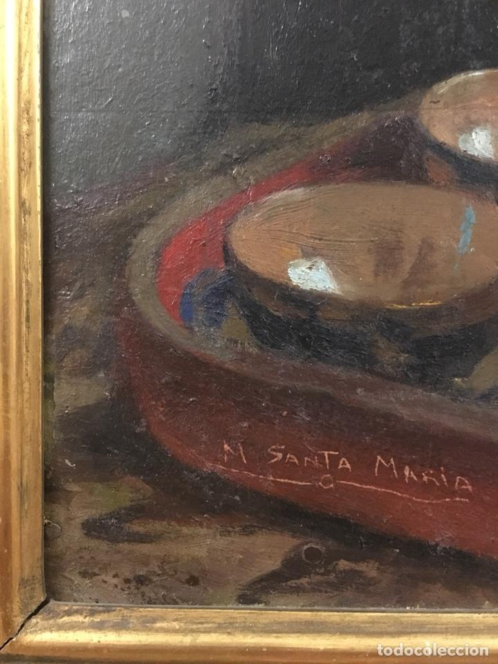 Arte: Óleo sobre cartón. Marceliano Santamaría. Firmado. Retrato femenino. - Foto 9 - 165825918