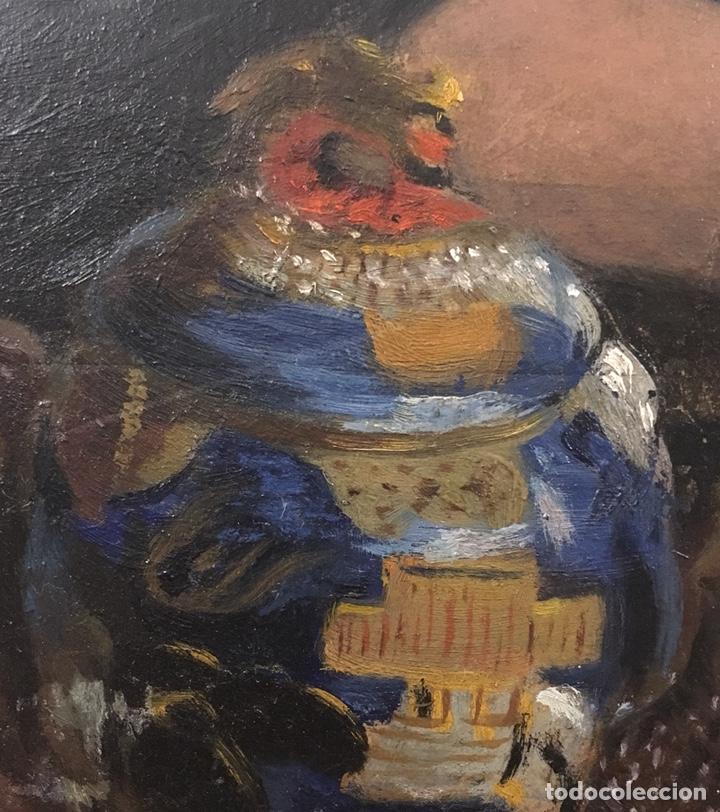 Arte: Óleo sobre cartón. Marceliano Santamaría. Firmado. Retrato femenino. - Foto 10 - 165825918