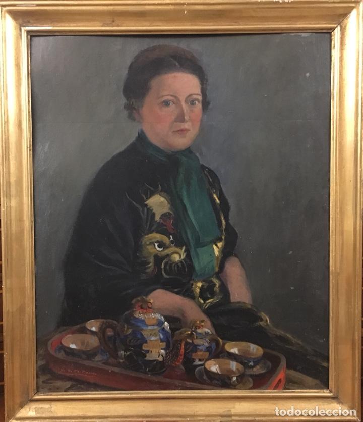 Arte: Óleo sobre cartón. Marceliano Santamaría. Firmado. Retrato femenino. - Foto 11 - 165825918