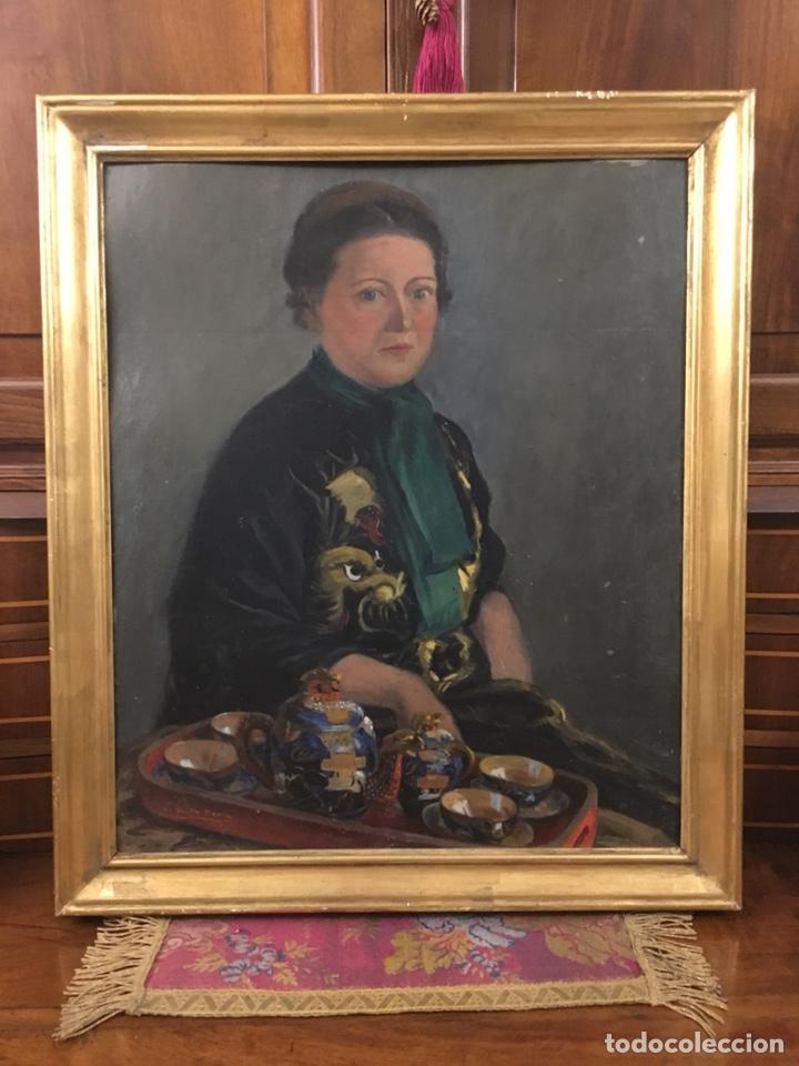 Arte: Óleo sobre cartón. Marceliano Santamaría. Firmado. Retrato femenino. - Foto 15 - 165825918