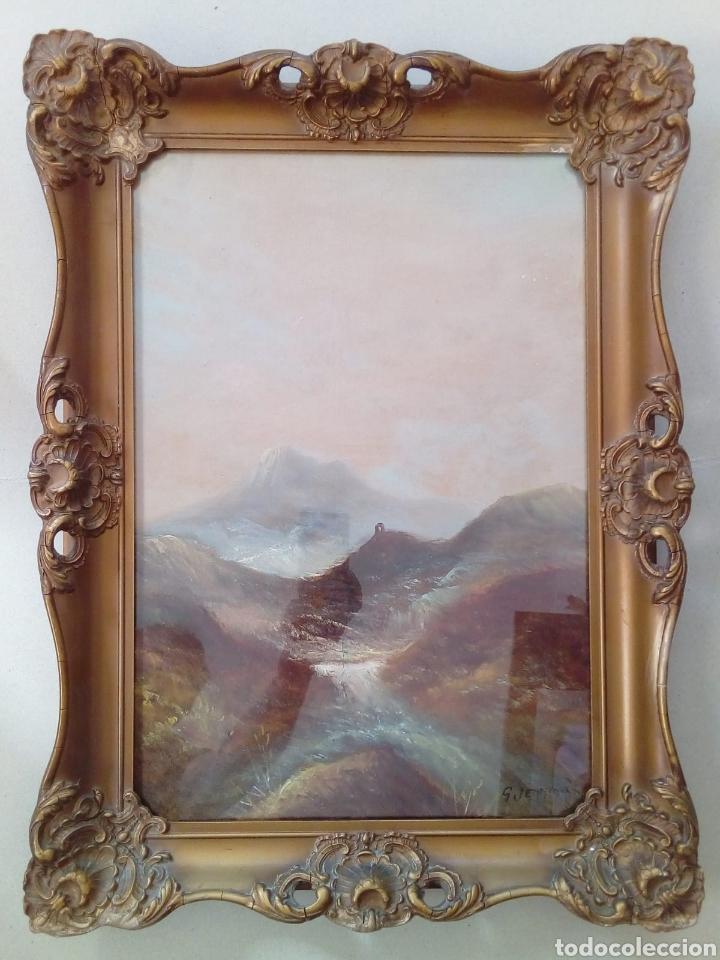 OLEO DEL SIGLO XIX DE G. JEMNINO ENMARCADO DE EPOCA CON CRISTAL. (Arte - Pintura - Pintura al Óleo Antigua sin fecha definida)