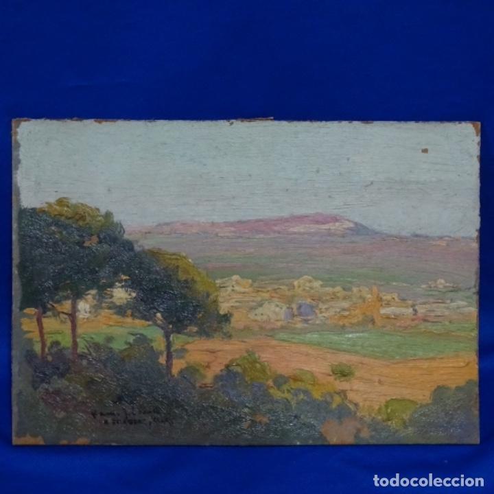 ÓLEO SOBRE TABLEX DE ANTONI GELABERT I ALART.DEDICADO.PUEBLO POR DETERMINAR. (Arte - Pintura - Pintura al Óleo Contemporánea )