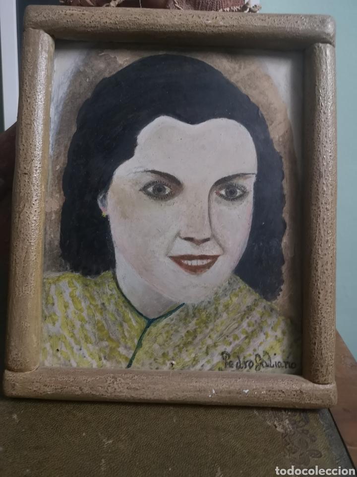 RETRATO FEMENINO PINTADO AL OLEO SOBRE CARTON, AÑOS 50, ENMARCADO. FIRMADO PEDRO GALIANO. 20X25CM (Arte - Pintura - Pintura al Óleo Contemporánea )