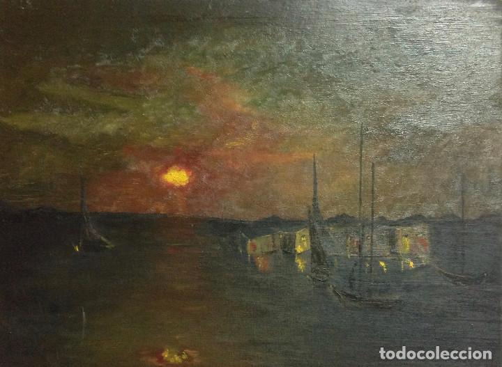 PUERTO NOCTURNO, ÓLEO SOBRE TABLA. 46 X 38 CM. (Arte - Pintura Directa del Autor)