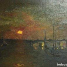 Arte: PUERTO NOCTURNO, ÓLEO SOBRE TABLA. Lote 165967638