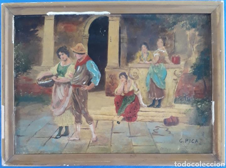 INTERESANTE OLEO SOBRE MADERA ESCENA GRANADINA SIGLO XIX FIRMADO G.PICA (Arte - Pintura - Pintura al Óleo Moderna sin fecha definida)